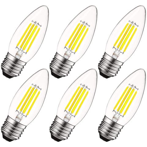Luxrite 5W Vintage E26 Candelabra LED Bulbs Dimmable, 550 Lumens, 60W Equivalent, Torpedo Tip Clear Glass (6 Pack)
