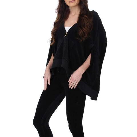 Juicy Couture Black Label Women's Velour Cape Track Jacket, Pitch Black