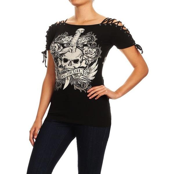 Funfash Women Plus Size Black Laced Corset Rhinestones Gothic Skull Top Shirt