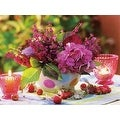 "LED Lighted Candles and Pink Floral Arrangement with Berries Canvas Wall Art 11.75"" x 15.75"" - Thumbnail 0"
