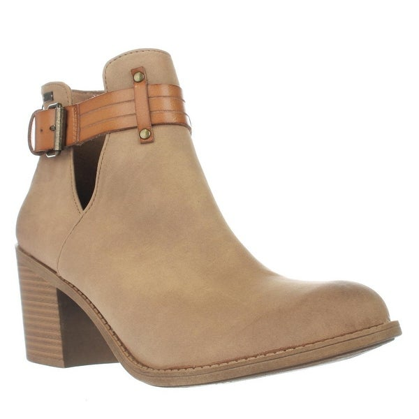 Roxy Laurel Cutout Buckle Ankle Booties, Tan - 8.5 us