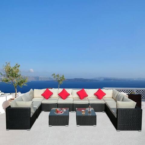 Zenova 12 Pieces Of PE Rattan Wicker Modular Sofa Set Patio Sofa With Pillows And Cushions