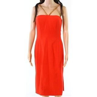 Calvin Klein Fire Womens Beaded Strap Sheath Dress