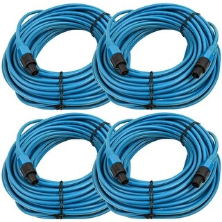 SEISMIC AUDIO Four Pack of 12 Gauge 100' Blue Speakon to Speakon Speaker Cables
