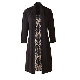 Women's Coat Dress- Long Faux Two-Piece Jacket & Dress - Black & Beige
