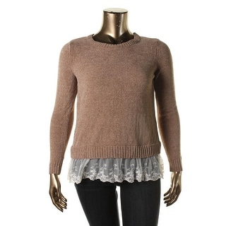 Oh MG! Womens Juniors Lace Trim Long Sleeves Pullover Sweater - S