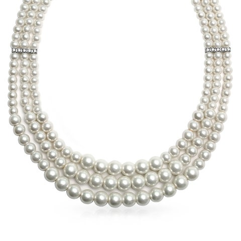 Bling Jewelry 3 Strand Imitation White Pearl Rhodium Plated Collar Necklace 18 Inches