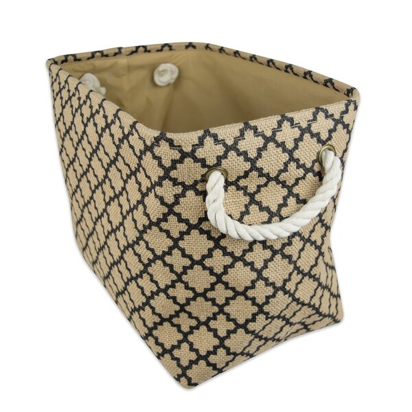 "14"" Brown and Black Lattice Burlap Rectangular Small Bin with Rope Handles - N/A"