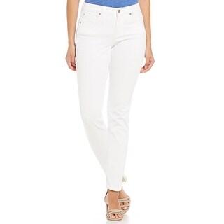 Jones New York NEW White Solid 6 Slim Twill Straight-Leg Ankle Pants