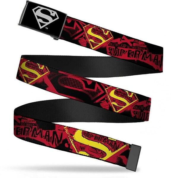Superman Reverse Brushed Silver Cam Superman X Ray Vision Black Red Web Belt