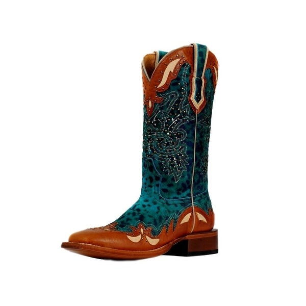 Cinch Western Boots Womens Studded Cheetah Print Turquoise Tan