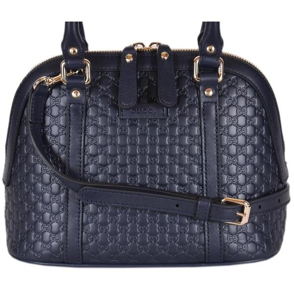 f90dee918674 Shop Gucci 449654 Micro GG Dark Blue Leather Convertible Mini Dome ...