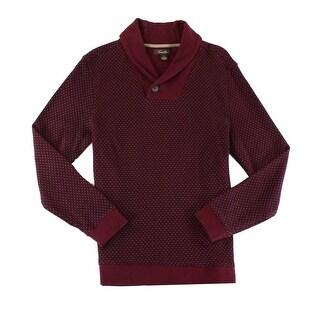 Tasso Elba NEW Port Red Mens Size XL Geo-Print Shawl-Collar Sweater