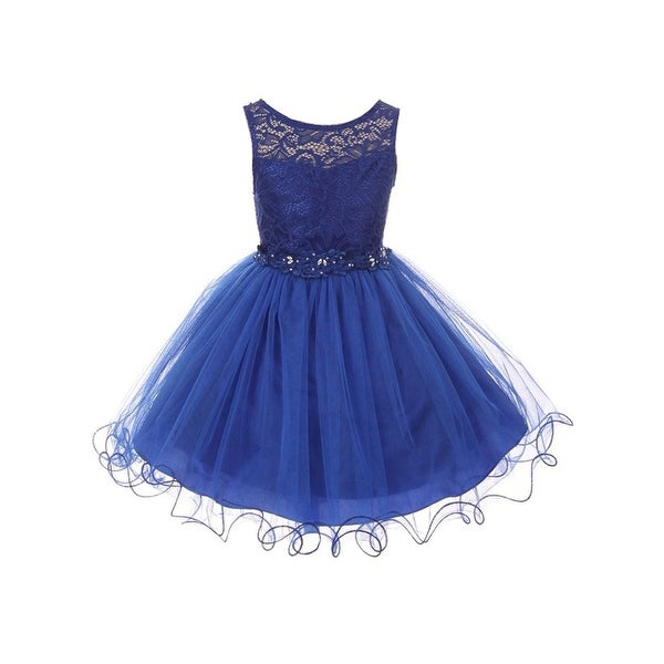 bb7e8cb3a24f5 Shop Little Girls Royal Blue Floral Decorated Lace Tulle Flower Girl Dress  - Free Shipping Today - Overstock - 24147850