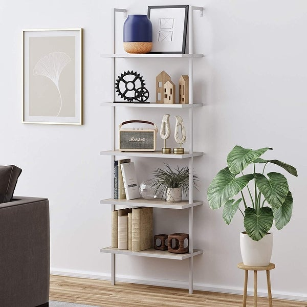 5-Shelf Wood Ladder Bookcase with Metal Frame Wall Mount Book Shelf. Opens flyout.
