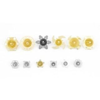 12 Pcs Kids Gold Tone Metallic Hexagon Flower Design Rotating Peg Top Toys