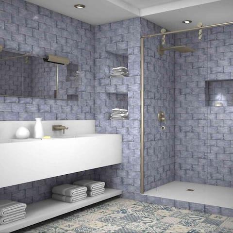 "The Tile Life Coastal 4"" x 8"" Ceramic Marble Look Tile"