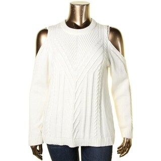 Vince Camuto Womens Pullover Sweater Cable Knit Cold Shoulder