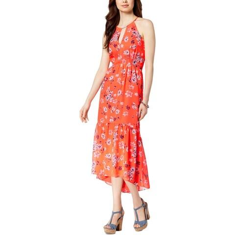 Vince Camuto Womens Flounce Dress Keyhole Hi-Low