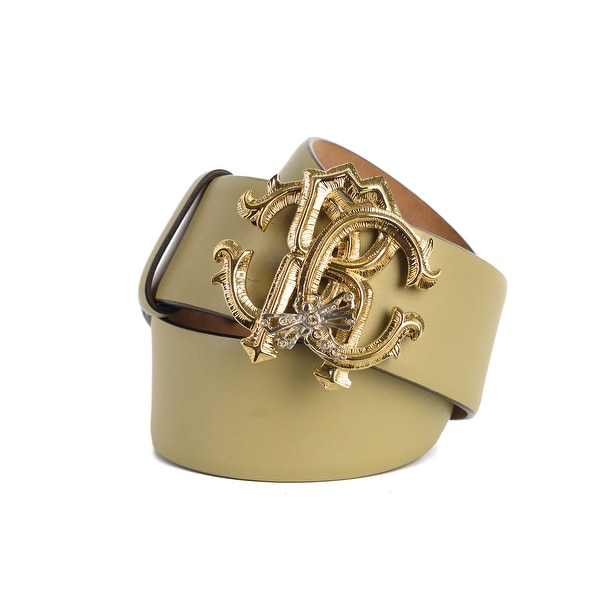 1d70a34313a Shop Roberto Cavalli Womens Light Brown Leather Gold RC Logo Buckle ...