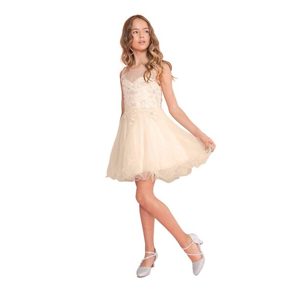 7602d3379f Calla Collection Girls Champagne Lace Illusion Short Party Tween Dress