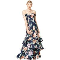 Sequin Hearts Womens Juniors Evening Dress Off-The-Shoulder Floral Print