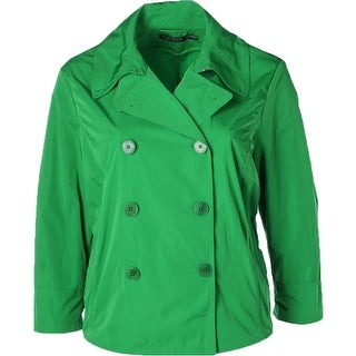 Lauren Ralph Lauren Womens Plus Cropped Jacket Double-Breasted Point Collar