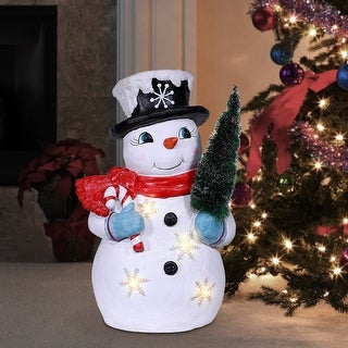 Link to Alpine Corporation Tree Grabbing Snowman with LED Lights Similar Items in Christmas Decorations