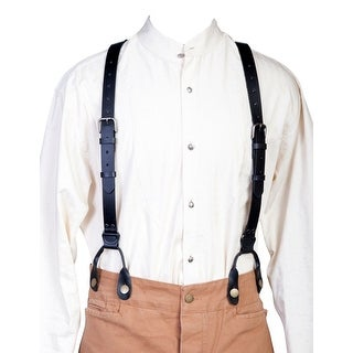 Scully Western Mens Suspenders Leather Y Back Attachment Loops - One size