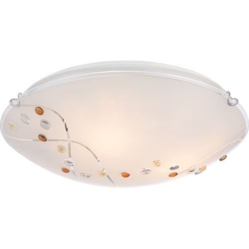 "Platinum PCSL1616 Stellar 3 Light 16"" Wide Flush Mount Ceiling Fixture with Etched Glass"