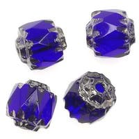 Czech Cathedral Glass Beads 6mm Cobalt Blue/Silver Ends (25)