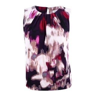 Calvin Klein Women's Plus Printed Pleat-Neck Shell Top - aubergine/multi