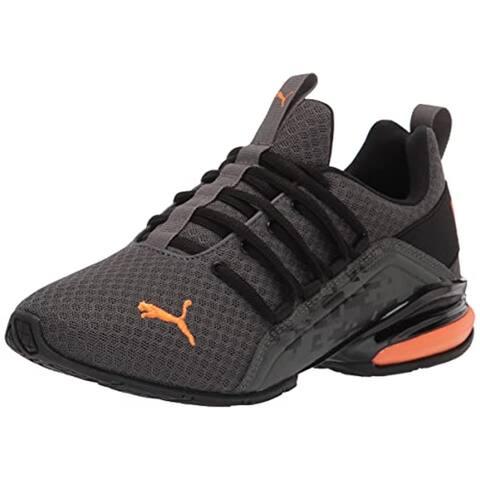 PUMA Axelion Running Shoe, Dark Shadow Black-Vibrant Orange