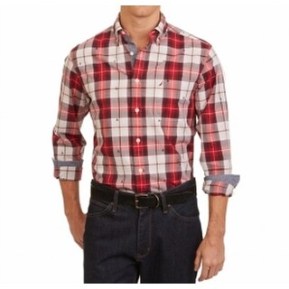 Nautica NEW Red Tango Mens Size XL Pocket Button Down Plaid Shirt