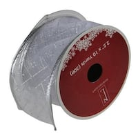 """Shimmering Silver Diamond Wired Christmas Craft Ribbon 2.5"""" x 10 Yards"""