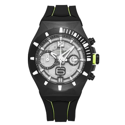 Franck dubarry mens 'intrepidus' chronograph transparent dial black rubber strap swiss quartz watch rev-03-08