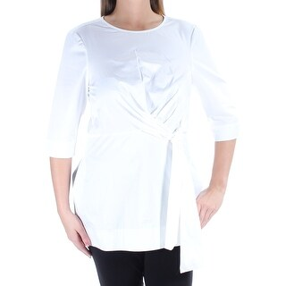 Womens White 3/4 Sleeve Jewel Neck Tunic Top Size 12
