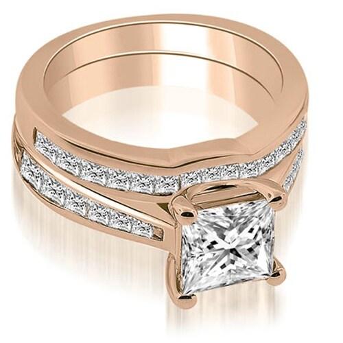 2.00 cttw. 14K Rose Gold Cathedral Channel Set Princess Diamond Bridal Set