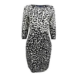 American Living Women's Printed Dress - Cream/Black