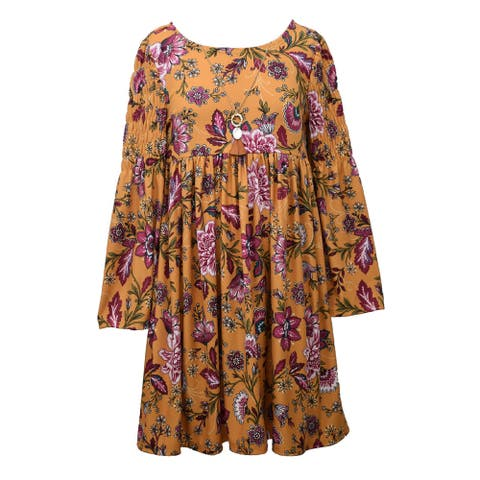 Bonnie Jean Mustard Smoked Bell Sleeve Necklace Empire Dress Big Girls
