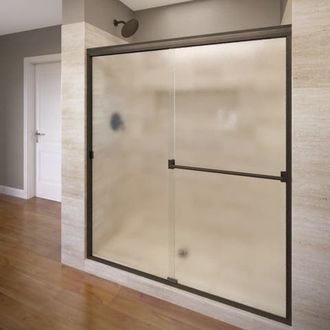 "Basco 3500-44SOB Classic 65-1/2"" High x 44"" Wide Bypass Semi-Frameless Shower Door with Obscured Glass"