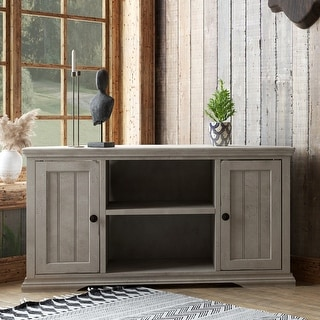 Link to Copper Grove Oyonnax Rustic White 50-inch Corner Cart Similar Items in TV Stands & Entertainment Centers