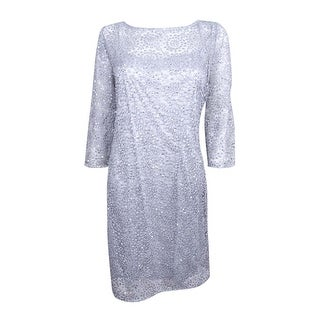 Alex Evenings Women's Embellished Crochet Dress - Silver