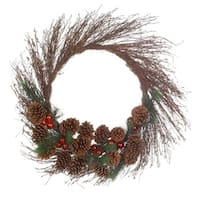 "30"" Pine Cone and Ball Ornament Artificial Twig Christmas Wreath - Unlit"