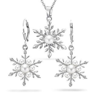 Bling Jewelry Snowflake Imitation Pearl Pendant Earring Set Rhodium Plated