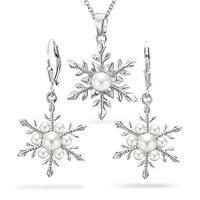 Bling Jewelry Snowflake Imitation Pearl Pendant Earring Set Rhodium Plated