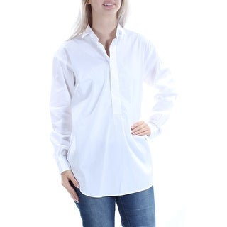 RALPH LAUREN $145 Womens New 1067 White Slitted Cuffed Button Up Top 4 B+B