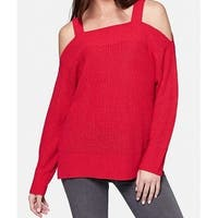 Sanctuary Deep Red Womens Size XS Knitted Cold-Shoulder Sweater