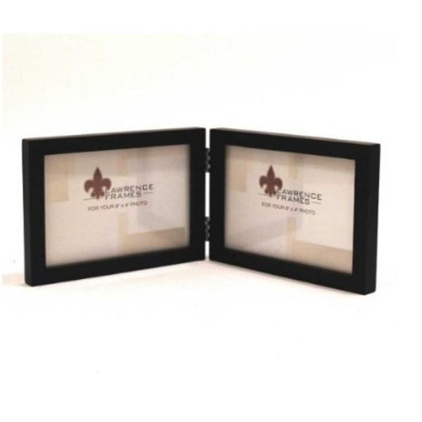 4x6 Hinged Double - Horizontal - Black Wood Picture Frame - - Free ...
