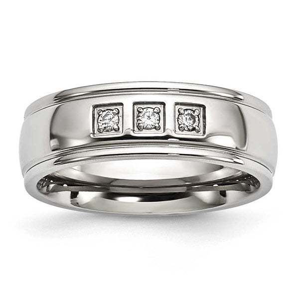 Stainless Steel Polished with CZ Ring (7 mm) - Sizes 7 - 13
